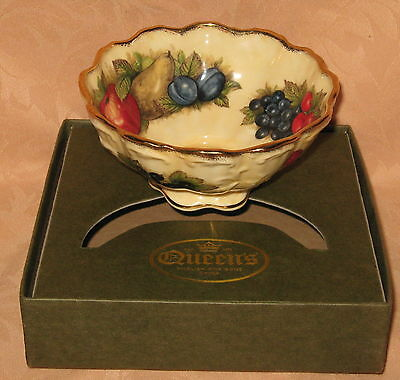 "Queens Rosina China Co. Ltd. Antique Fruit Series 5"" Footed Bowl NEW IN BOX"