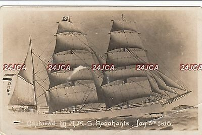"""3 Masted Barque Real Photo. """"Viganella"""" Captured by HMS """"Bacchante"""" Jan, 1915."""