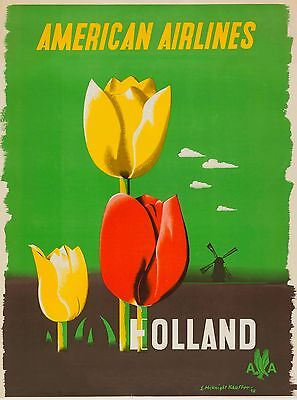 Holland Dutch Netherlands American Airlines Vintage Travel Advertisement Poster