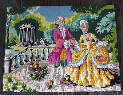 "UNFRAMED COMPLETED  NEEDLEPOINT ""SCENE GALANTE""  14"" X 18"" approx."