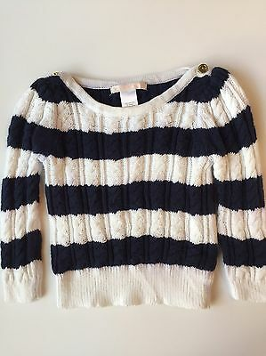 Janie and Jack Preppy Navy Striped Cable Knit Pullover Sweater Girls 12-18 mos