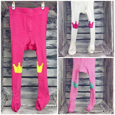 Baby Girl Toddler Cotton Tights Pants Double Anti Slip ABS Sole Crawling Crown