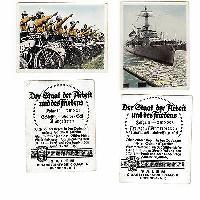 WW2 Trading 2 Cards NAZI Germany MOTORCYCLE ARMED SHIP Cigarette SALEM WORLD WAR