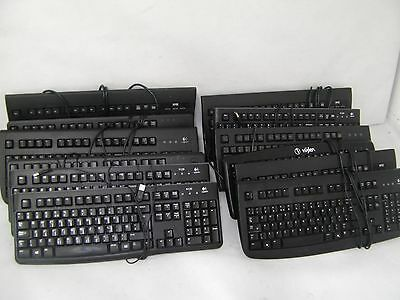 12x Black USB PC Keyboards QWERTY Black Desktop Computer Office Full Size Numpad