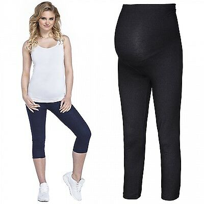 Happy Mama Women's Maternity Denim Look 3/4 Leggings Waistband Panel Pants. 977p