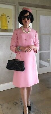 Vintage 1960s Pink Jackie Kennedy Style dress and jacket Size 10-12
