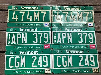3 Pairs Expired Vermont license plates green mountain state Maple