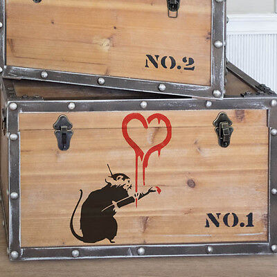 Banksy Rat Painting Heart Stencil Graffiti Home Decor Craft Art Ideal Stencils