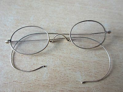 Vintage Original 1910s Oval Pince Nez Metal Gold Frame Spectacles with wire arms