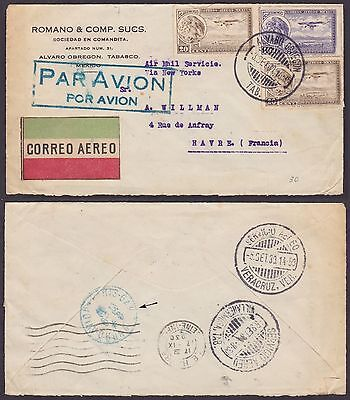 Mexico 1930 - Air mail cover to Le Havre France