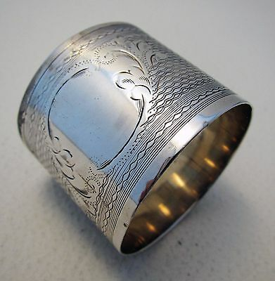 Engine Turned Solid Sterling Silver English Hallmarked French Style NAPKIN RING