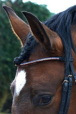 John Whitaker Crystal Red White And Blue Browband Cob Size *reduced*