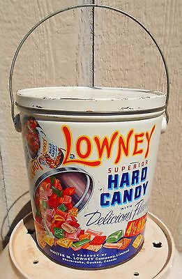 VINTAGE 1967's LOWNEY'S HARD CANDY / BONBONS BI-LINGUAL (4 1/2 LB.) TIN CAN SIGN