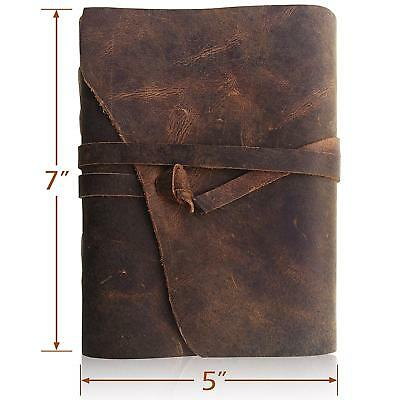 LEATHER JOURNAL Writing Notebook - Antique Handmade Leather Bound Daily Notep...
