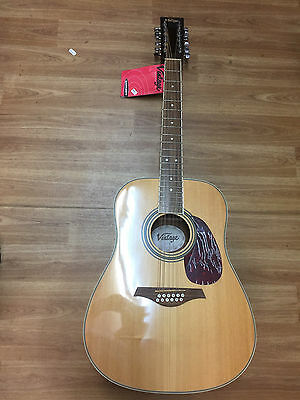 12 string vintage v40012 dreadnought acoustic guitar brand new with tags picclick uk. Black Bedroom Furniture Sets. Home Design Ideas