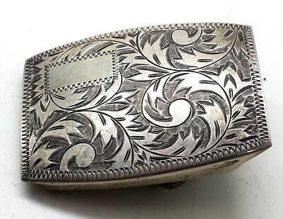 Vintage Etched Design Belt Buckle Sterling Silver 925 21g JSV98