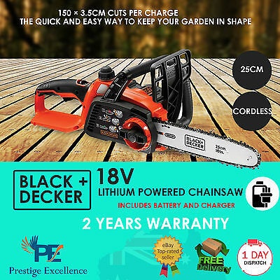 Cordless Electric Chainsaw 18V 25cm Lithium Powered with Battery and Charger NEW