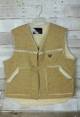 Men's Vtg 70s WIMAN FAUX Sheepskin Leather Shearling Ranch Vest Americana Seeds