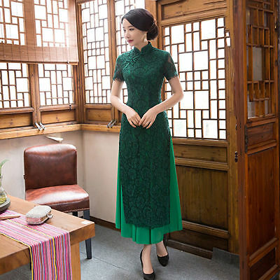 Womens Lace Cheongsam Long Qipao Party Cocktail Evening Formal Costume Dress