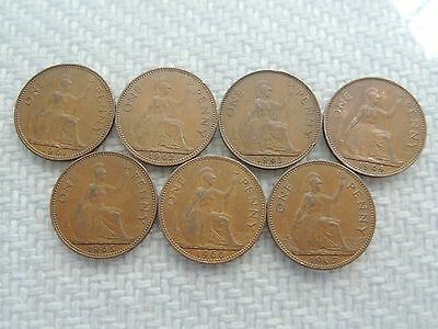 DATE RUN OF 7 QUEEN ELIZABETH II ONE PENNY COIN (1961-1967) ref 34