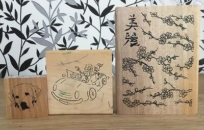 3 Rubber Wooden Block Stamps Set 1