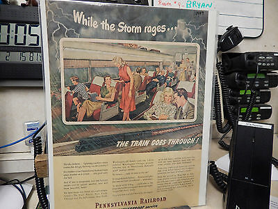 Vintage 1947 Pennsylvania Railroad While the Storm Rages Ad