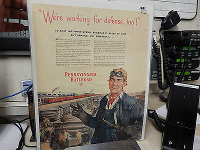 Vintage 1951 Pennsylvania Railroad We're working for Defense, too! Ad,