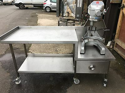 Stainless Steel Mobile Prep Bench Table Work Surface Shelf Catering Mixer Stand
