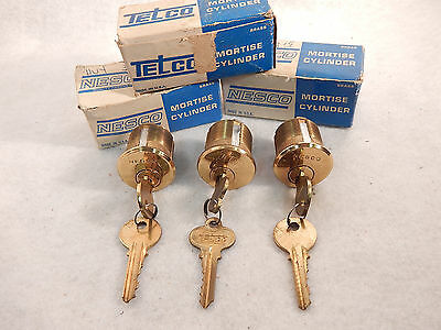 3 New In Box Nesco & Telco  1 1/4 Mortise Lock Cylinders W/2 Keys Each Guaranted