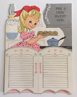 HALLMARK Vintage Die Cut Birthday Card Pretty Girl Pink Dress Kitchen Kitty Cat