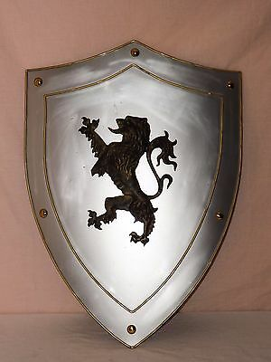 "Metal Shield with Dragon 25"" x 18"" Fantasy Cosplay Medieval Decor"