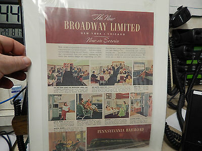 Vintage 1949 Pennsylvania Railroad The New Broadway Limited Ad