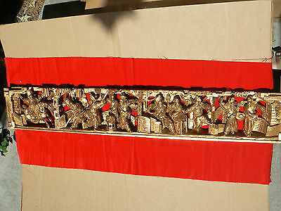 A1217 Vintage Chinese Hand Carved 3D Openwork Wood Panel The Three Kingdoms