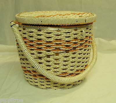 Vintage wicker tall sewing basket good condition SINGER Japan with tray