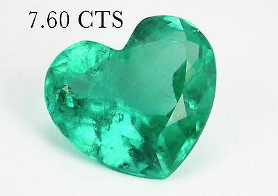 7.60cts Vivacious Loose Colombian Emerald Heart 14.0mm x 12.0mm Columbian Heart