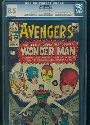 AVENGERS #9 CGC 8.5 VF+ 1st WONDER MAN Marvel Silver Age Comic Book KEY GOTG HOT