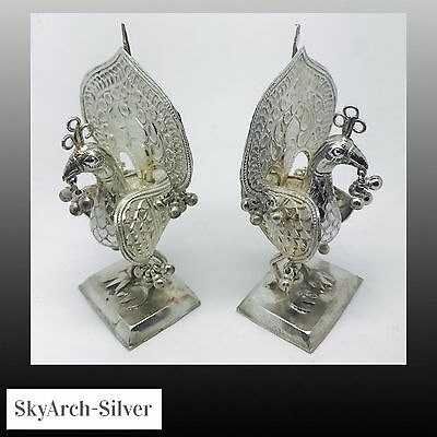 SOLID SILVER Menu Holders INDIAN SILVER Rare C1920s MATCHING PAIR 94.2g
