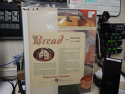 Vintage 1946 Pennsylvania Railroad Bread from the field to the Table Ad, 2 page