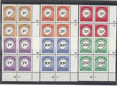 TRISTAN DA CUNHA POSTAGE DUES  complete MNH set 1986 YT: 16/21 in blocs of 4