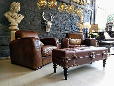 Chesterfield John lewis (second/ return) Brown Vintage style Leather footstool
