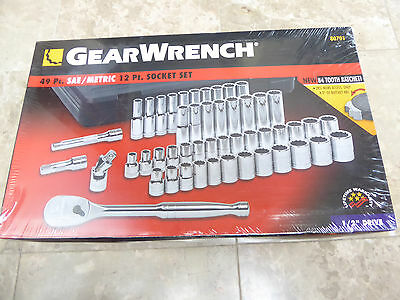 "GearWrench 80701 49 Piece 1/2"" Drive 12 Point Socket Set Kit"