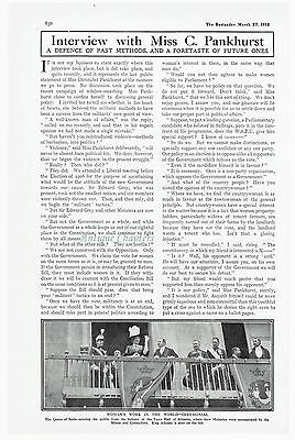 Suffragette Christabel Pankhurst Interview 1912 Article B256