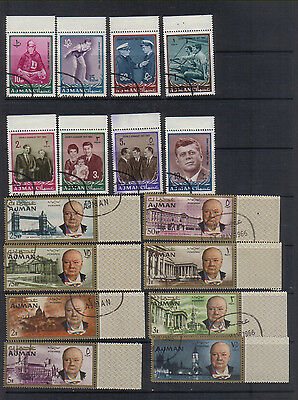 Ajman 1964-66 Churchill and Kennedy sets used