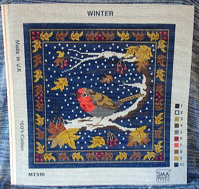 Winter Needlework Tapestry Printed Canvas Robin Snow Christmas Leaves Berry Cute