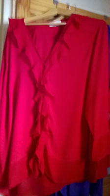 New Ladies Red Long Sleeve Blouse  Size 22/24 From Ann Harvey