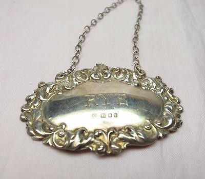 Vintage English Sterling Silver RYE Liquor Decanter Tag