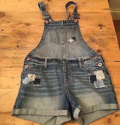 Girls Abercrombie Kids Denim Short Dungarees Distressed/patchwork 13/14