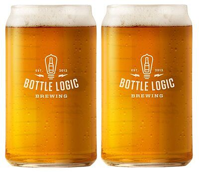 Bottle Logic Brewing Beer Can Pint Glass 2-Pack