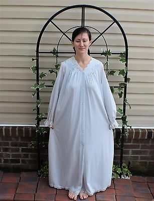 Vintage 70's Blue Nylon Shadowline Nightgown Robe Negligee Peignoir Set Size M
