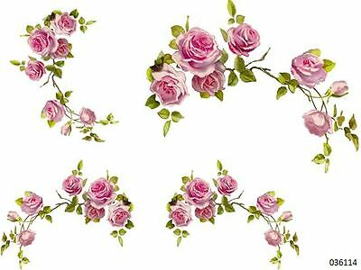XL PinK CaBbaGe RoSe CoRNeRs SWaGs SHaBbY WaTerSLiDe DeCALs ~FurNiTuRe SiZe~